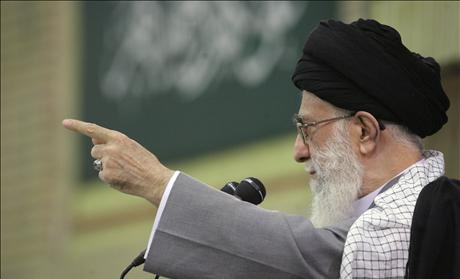 Iran's Supreme Leader Ayatollah Khamenei speaks to his supporters in Tehran