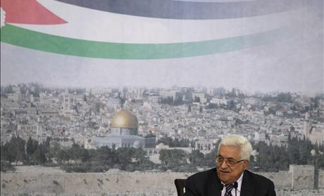 Palestinian President Abbas speaks during a televised speech in Ramallah