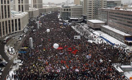 A general view of a demonstration against recent parliamentary election results in Moscow