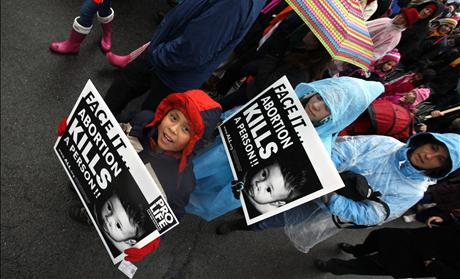 Children hold pro-life signs