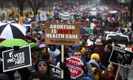 Anti-abortion demonstrators take part in the &quot;March for Life&quot; in Washington 