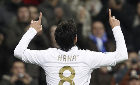 Real Madrid's Kaka celebrates his goal against Real Zaragoza during their Spanish first division soccer match at Santiago Bernabeu stadium in Madrid