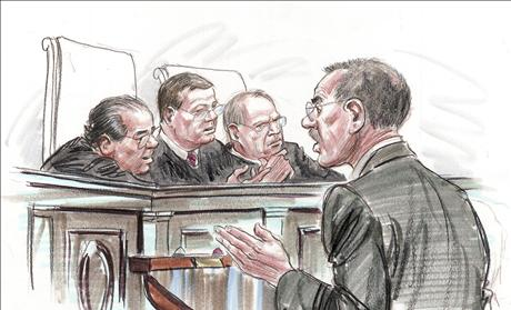 Courtroom illustration of U.S. Solicitor General Donald Verrilli speaking to justices of the U.S. Supreme Court in Washington