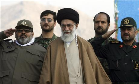 Iran&#39;s Supreme Leader Ayatollah Ali Khamenei, Armed Forces Chief of Staff Hassan Firouzabadi and Head of Revolutionary Guards forces, General Mohammad Ali Jaafari attend ceremony to mark Basij day in southern Tehran