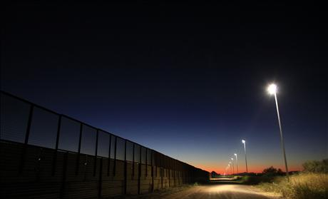 The border fence separating the United States and Mexico in Douglas, Arizona