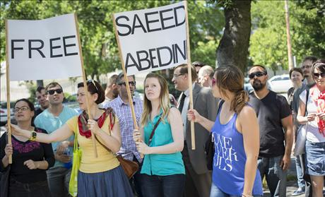 Protesters for Pastor Saeed in Hungary