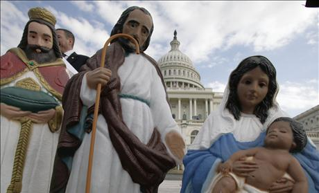 A nativity scene is displayed outside the U.S. Capitol building before a news conference to encourage people to apply for permits to display nativity scenes at public buildings across the nation during the Christmas season in Washington
