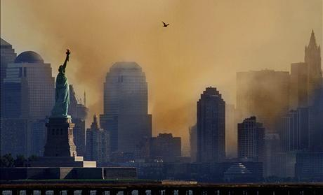 File picture shows smoke from the remains of New York's World Trade Center