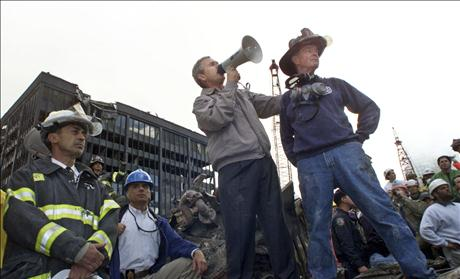 A September 14, 2001 file photo shows President Bush at the scene of the World Trade Center