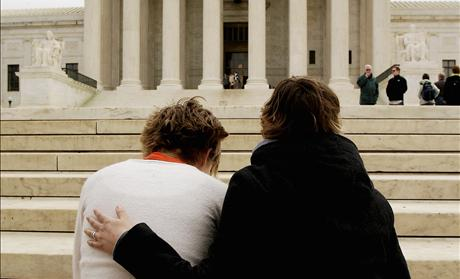Pro life activists pray in front of the U.S. Supreme Court.