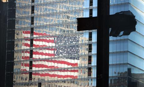Girders in the shape of a cross preserved from the wreckage of the World Trade Center stand in New York.