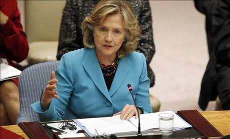 U.S. Secretary of State Clinton speaks at a United Nations Security Council meeting at U.N. headquarters in New York
