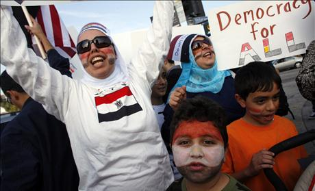 Protestors rally against Egypt's President Hosni Mubarak outside the Federal Building in Westwood, California