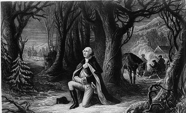 George Washington kneeling to pray