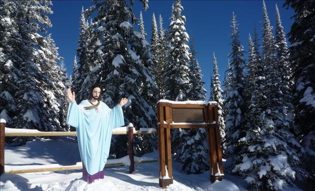 War Memorial Statue of Jesus on Big Mountain in Montana