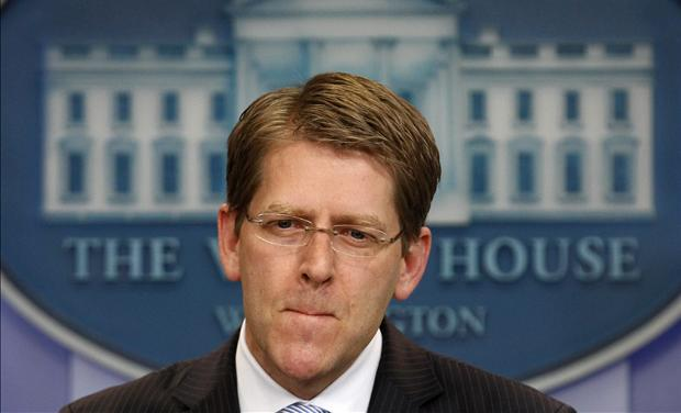 White House Press Secretary Jay Carney listens to questions during the daily press briefing at the White House in Washington
