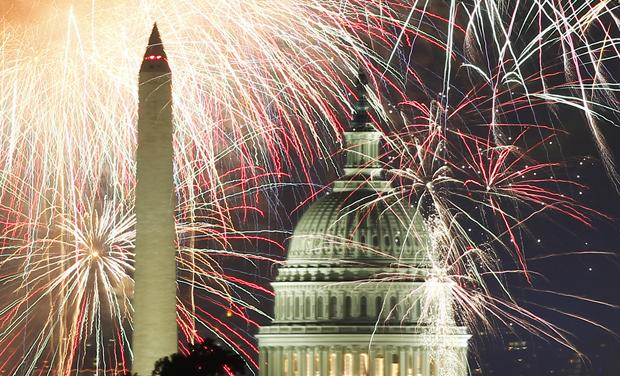 Fireworks light up the sky over the United States Capitol dome and the Washington Monument as the U.S. celebrates its 235th Independence Day in Washington