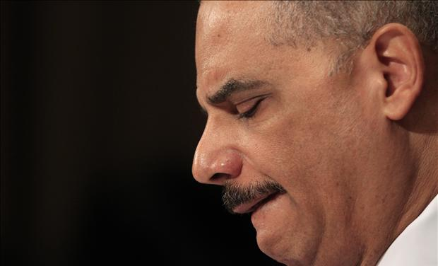 "U.S. Attorney General Eric Holder testifies during a hearing on ""Oversight of the Justice Department"" held by the Senate Judiciary Committee on Capitol Hill"