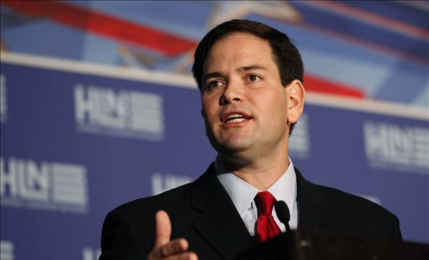 U.S. Senator Marco Rubio (R-FL) speaks at a meeting of the Hispanic Leadership Network in Doral
