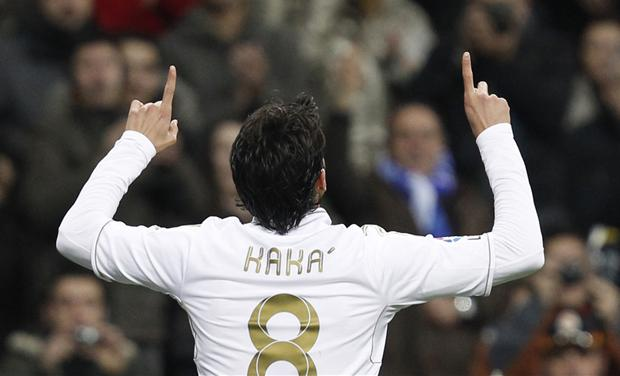Real Madrid&#39;s Kaka celebrates his goal against Real Zaragoza during their Spanish first division soccer match at Santiago Bernabeu stadium in Madrid