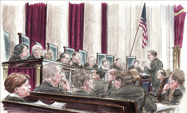 Courtroom illustration of U.S. Solicitor General Donald Verrilli at the lectern to members of the U.S. Supreme Court in Washington