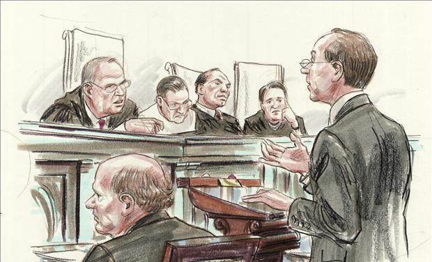 Courtroom illustration shows attorney Clement arguing before U.S. Supreme Court hearing on President Obama's 2010 healthcare law in Washington