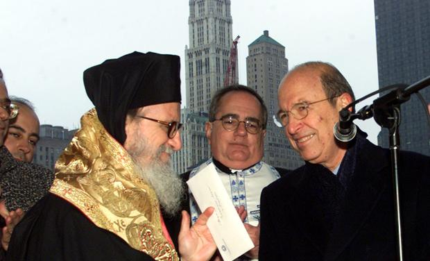 GREEK PRIME MINISTER DELIVERS CHECK TO ARCHBISHOP DIMITRIOS AT GROUND ZERO.