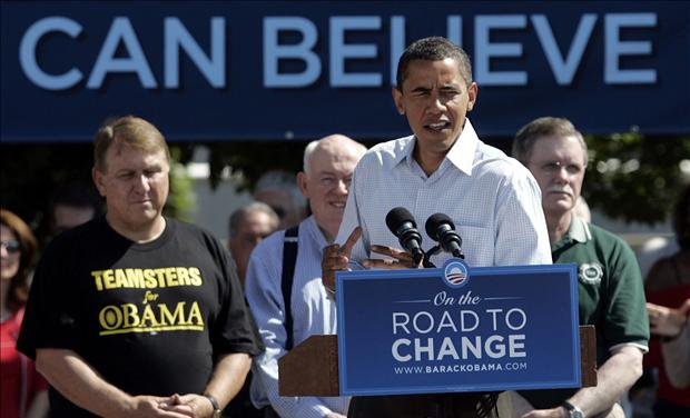 US Democratic presidential nominee Senator Barack Obama speaks to the crowd at Hart Plaza following the annual Labor Day parade in Detroit