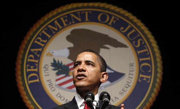 U.S. President Barack Obama speaks at Attorney General Eric Holder&#39;s ceremonial installation at George Washington University in Washington