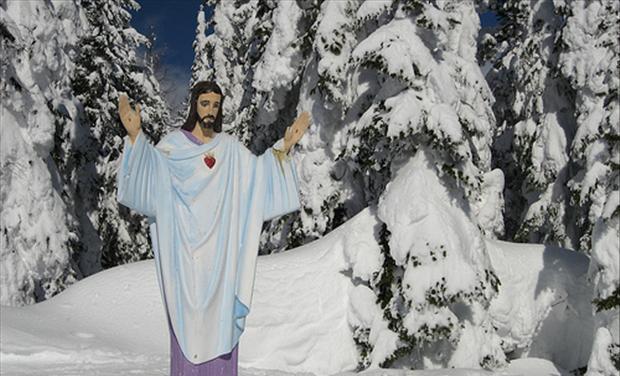 War Memorial Statue of Jesus Overlooking Big Mountain in Montana