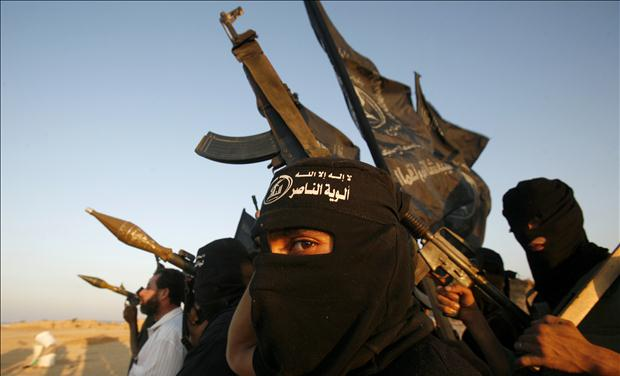 Palestinian militants of the popular resistant movement take part in a training drill in in Jabalya