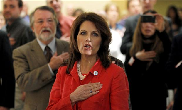 U.S. Congresswoman Bachmann, a potential Republican candidate for President, recites the U.S. Pledge of Allegiance at New Hampshire GOP Brunch in Nashua