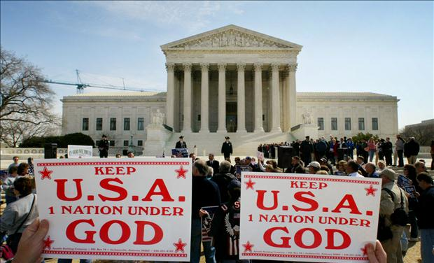 SUPREME COURT HEARS PLEDGE OF ALLEGIANCE CASE.