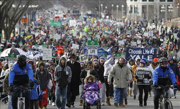 Pro-life protesters walk during their annual March for Life in Washington