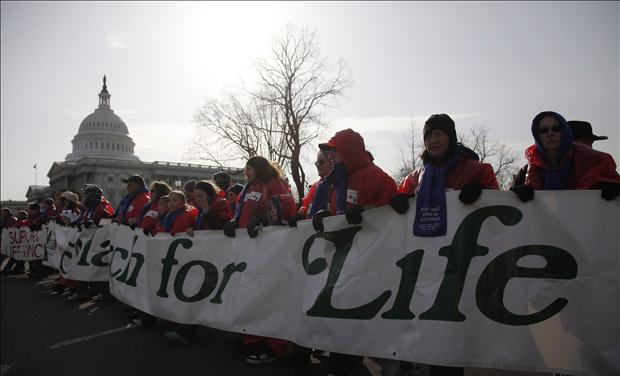 Pro-life protesters walk past the U.S. Capitol Building on their way to the Supreme Court during their annual March for Life in Washington