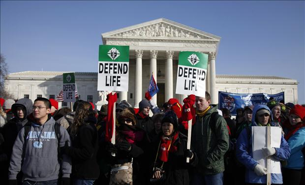 Pro-life protesters are pictured outside the U.S. Supreme Court during their annual March for Life in Washington