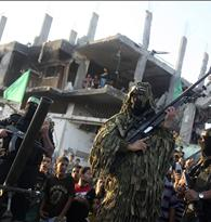 Hamas militants display weapons