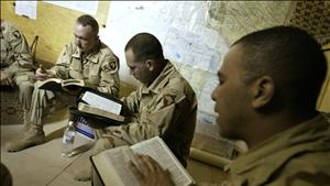 MEMBERS OF THE 3/502 INFANTRY DIVISION OF THE 101ST AIRBORNE DIVISION CONDUCT A BIBLE STUDY CLASS AT ...