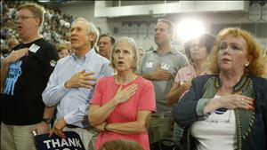 Participants at a town hall meeting on healthcare reform at high school gymnasium in Virginia
