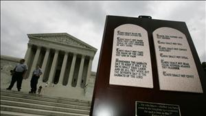 Stone tablets depicting the Ten Commandments are shown outside the Supreme Court in Washington