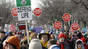 Pro-life protesters are pictured during their annual March for Life in Washington